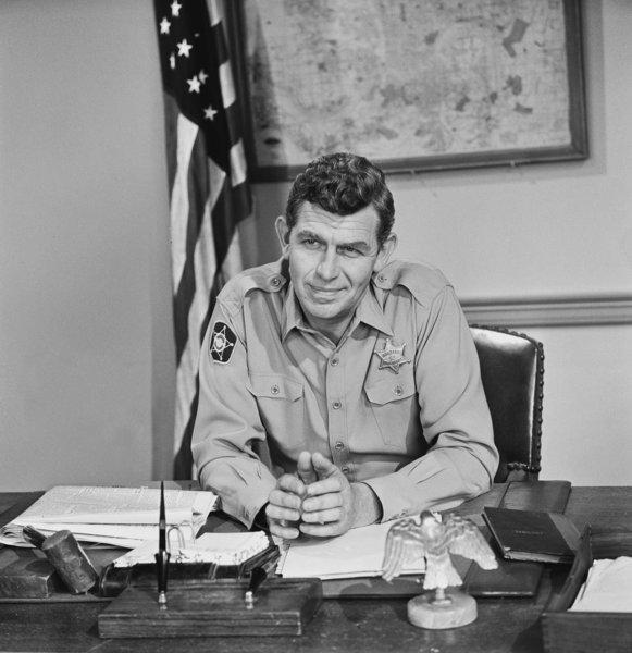 "Andy Griffith in the episode called ""Goober Makes History."""