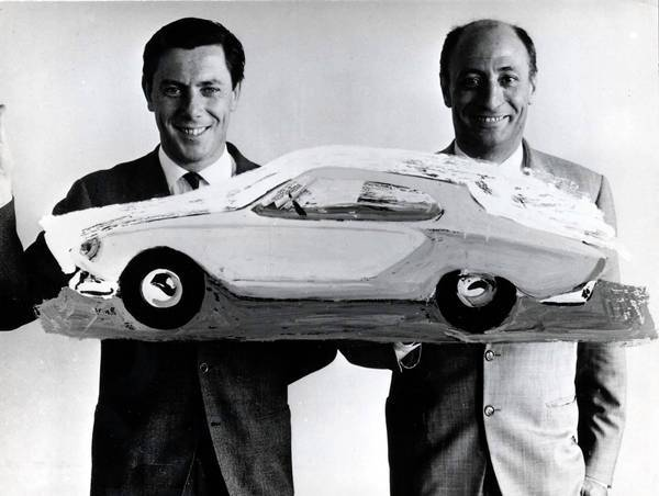 Sergio Pininfarina, left, and Renzo Carli. Pininfarina was responsible for the sleek shapes of Ferraris and many other sports cars.