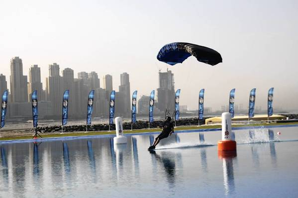 Zionsville native Curt Bartholomew competes in the third Dubai International Parachuting Championships in December 2011. Bartholomew won two gold medals in the canopy piloting competition.