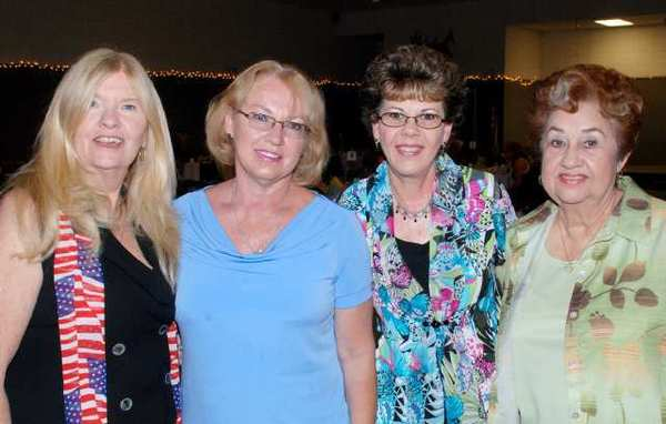 Among the Emblem Club members who served as models for Saturdays fashion show were, from left, Peggy Foltz, Joanne Vallone, Connie Rush and Ramona Higgins.