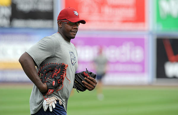 Philadelphia Phillies first basemen Ryan Howard jogs off the field after batting practice prior to his rehab start at Coca-Cola Park for the Lehigh Valley IronPigs Tuesday night against the Scranton / Wilkes-Barre Yankees.