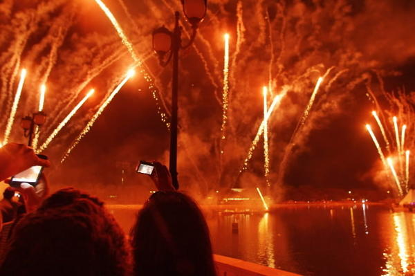 Fireworks explode during Red Hot & Boom at Crane's Roost Park in Altamonte Springs on Tuesday