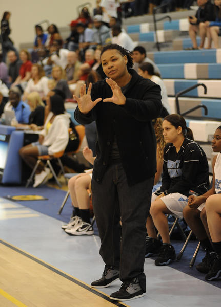 Marquita Adley coaching West Broward High School girls basketball team in regional final against Palm Beach Central earlier this year
