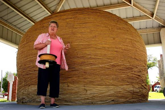 Linda Clover is the keeper of the twine in Cawker City, Kansas, home to the world's largest ball of twine.