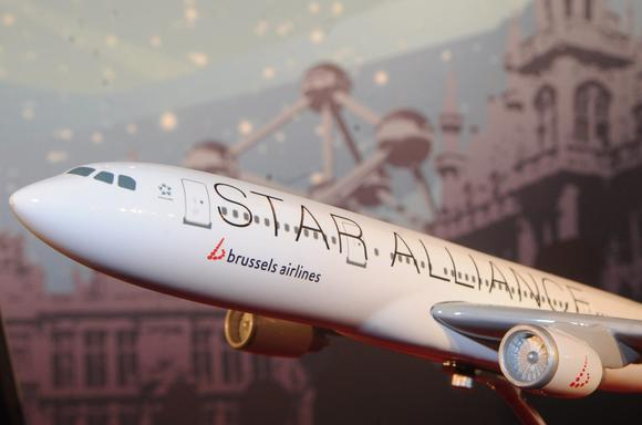 A scale model of a Brussels Airlines-Star Alliance airplane is pictured during a press conference