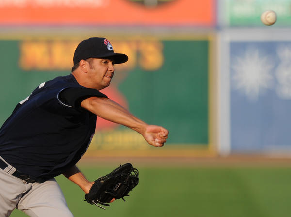 Yankees' #20 Nelson Figueroa pitches during the game. The Lehigh Valley IronPigs played the Scranton/Wilkes-Barre Yankees at Coca-Cola Park in Allentown Wednesday night.