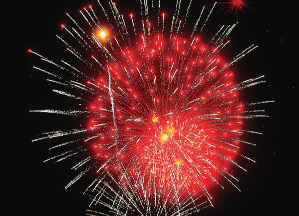 Fireworks burst Wednesday night at Hagerstown's Fairgrounds Park.