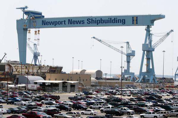 A view of the gantry crane over drydock #12 at Newpot News Shipbuilding in Newport News.