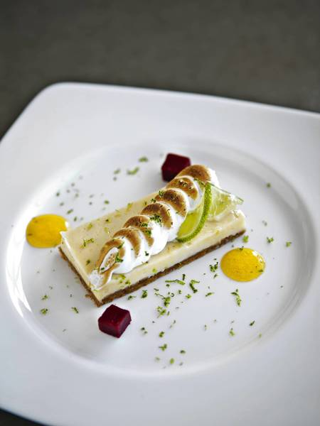 The Key Biscayne lime-pie ($10) updates traditional Key lime pie with a more-elegant lime curd.
