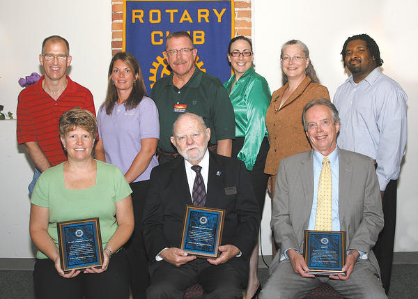 Receiving vocational service awards from Sunrise Rotary Club are, front row, Gen Harper, Arc senior director of day programs; Craig MacLean, president and chief executive officer of Horizon Goodwill Industries; and George McDanolds, account executive at HBP Inc. Second row, Darrin Anderson, Arc participant, who works at Martin's; Katie Barnhart, business supports coordinator at Arc; Jack Latimer, chairman of vocational committee at Sunrise Rotary; Catherine Fleming, director of mission services at Horizon Goodwill; Deb Carbaugh, director of marketing and communications at Horizon Goodwill; and Randy Tisdale, vocational case manager at Horizon Goodwill.