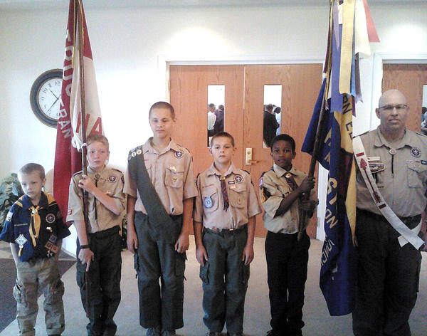 Boy Scouts from Troop 10 and Cub Scout Pack 34 participated in a flag ceremony at Paramount Baptist Church on July 1. Pictured, from left,, are T.J. Morris, Jordan Miller, Ryan Maguire, Sean Maguire, Darin Saunders and Bill Taylor, assistant scoutmaster of Troop 10.