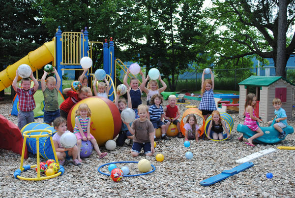 Boyne City Preschool pupils show how they will participate in an anti-obesity program through outdoor activities.