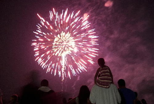 Spectators watch a fireworks display at Victory Landing Park in Newport News on July 4, 2012.