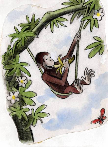 "CURIOUS GEORGE -- Drawn in Paris during the turbulent early years of World War II, this watercolor scene called ""This is George. He Lived in Africa,"" shows an early final version of the character who -- after being renamed in the United States -- became famous to millions of young readers as ""Curious George."" It's one of dozens of original drawings, page mock-ups and pieces of cover art on view at the Chrysler Museum of Art in ""Curious George Saves the Day: The Art of Margret and H.A. Rey. Courtesy of the University of Southern Mississippi. © 2011 by Houghton Mifflin Harcourt Publishing Company."