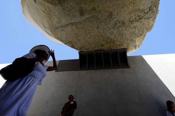 "Artist Michael Heizer's ""Levitated Mass"" at the Los Angeles County Museum of Art."