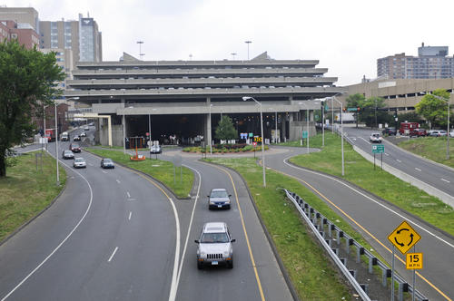 This is the Route 34 connector in New Haven, photographed in June.  The area is being redeveloped for mixed-use.
