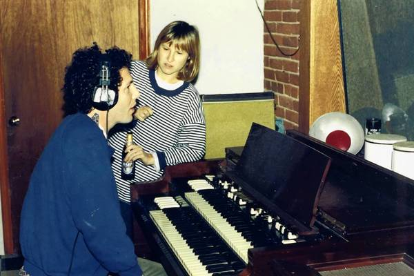 """Ira Kaplan and Georgia Hubley of the group Yo La Tengo record """"May I Sing with Me"""" in 1991."""