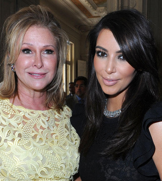 Celebrities at Paris Fashion Week 2012: Kim Kardashian, Kanye West and more...: Kathy Hilton and Kim Kardashian