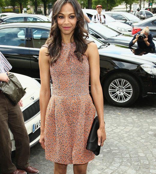 Celebrities at Paris Fashion Week 2012: Kim Kardashian, Kanye West and more...: Zoe Saldana