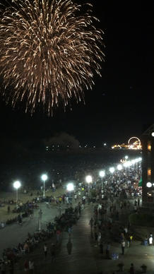 Fireworks explode over the boardwalk in Ocean City.