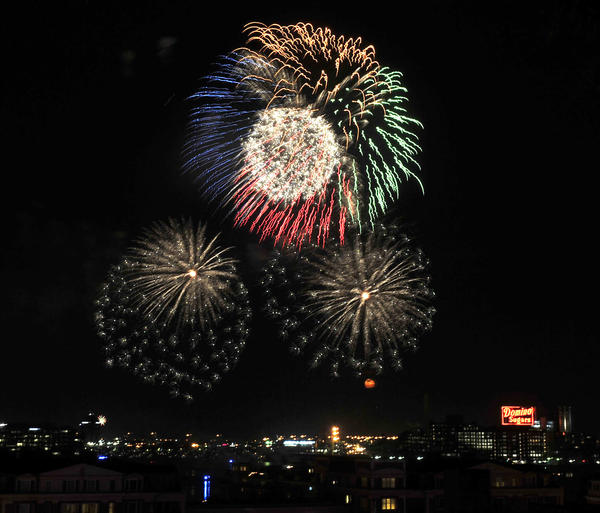 The 4th of July fireworks in the Inner Harbor as seen from Federal Hill