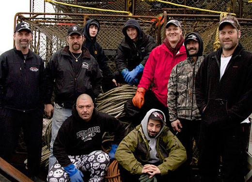 'Deadliest Catch' Season 8 pictures: Left to right, back row: Captain Andy Hillstrand, Captain Jonathan Hillstrand, Eddie Uwekoolani, Jr., Scott Hillstrand, Mike Fourtner, Neal Hillstrand and Travis Lofland. Foreground: Eddie Uwekoolani and Josh Harris.