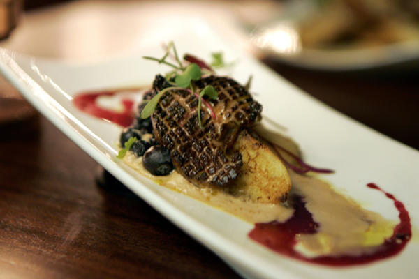 Seared foie gras with wild berry and mocha moose.