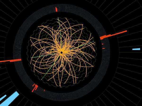 A 2011 image from CERN of a proton-proton collision that may have created a Higgs boson particle.