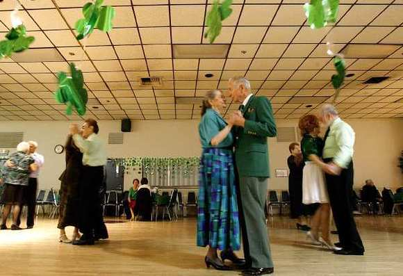 Seniors dance at the St. Patrick's Dance at the Joslyn Adult Center in Burbank.