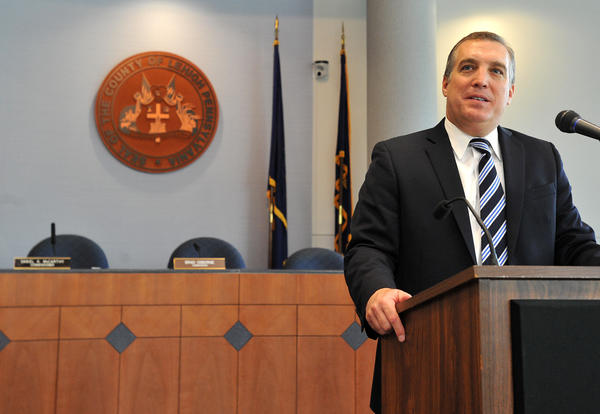 Don Cunningham, says his farewell as Lehigh County executive for a job in the private sector during a press conference on Thursday at the Lehigh County Government Center in downtown Allentown.