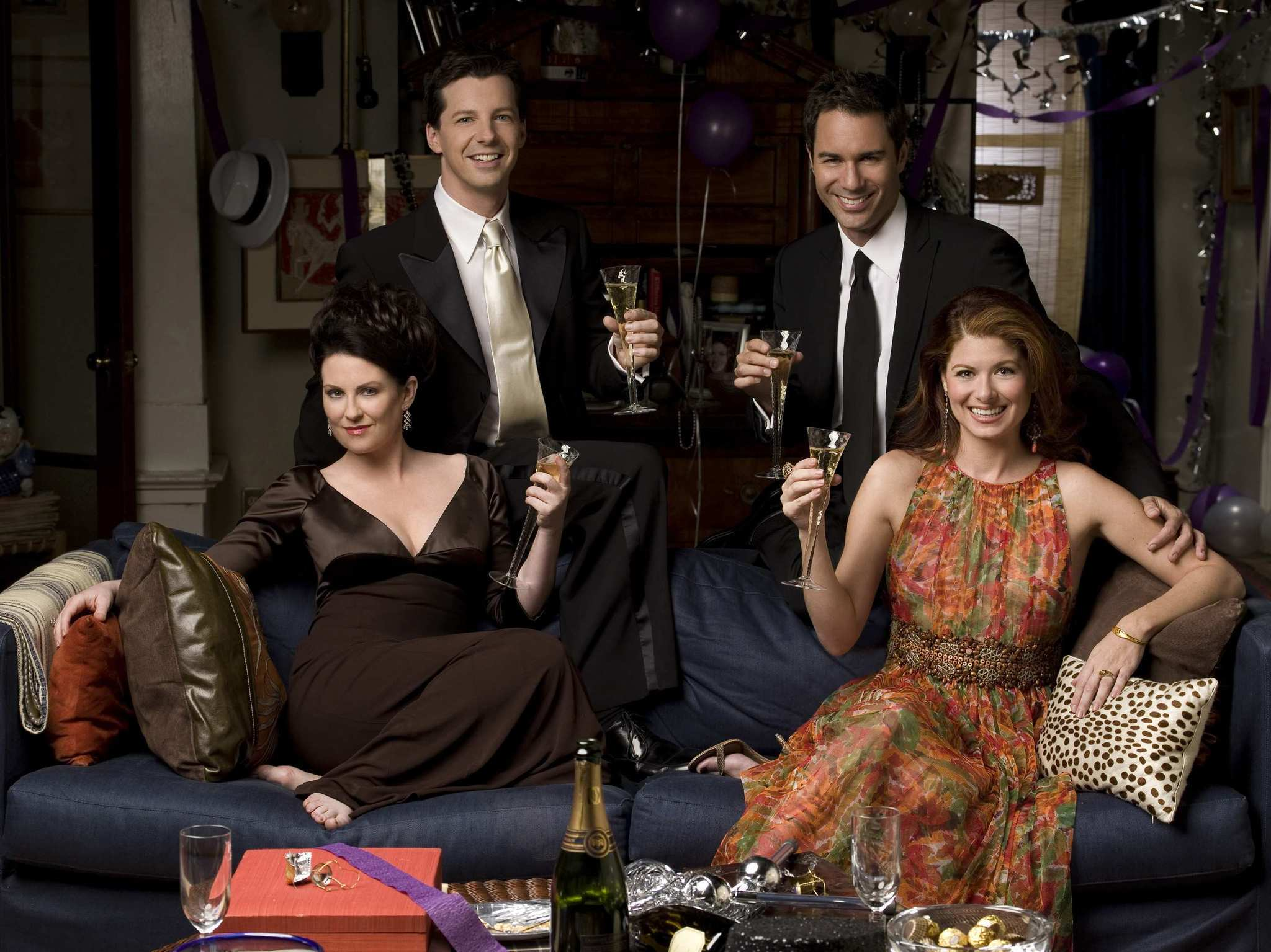 "Megan Mullally, from left, Sean Hayes, Eric McCormack and Debra Messing will reprise their roles from the hit sitcom ""Will & Grace."" (George Lange / NBC)"