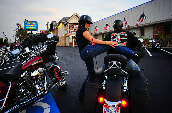 Riders arrive Thursday night at Cancun Cantina for the kickoff of Bike Week in Hagerstown.
