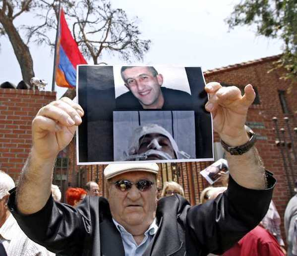 Locals protest outside the Armenian consulate in Glendale on Thursday.