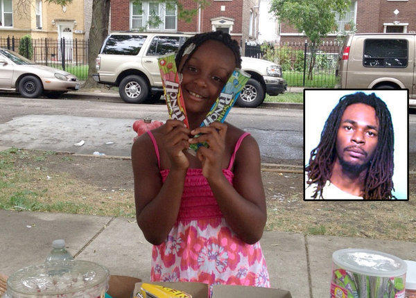 Heaven Sutton, 7, at the candy stand in front of her house on the 1700 block of North Luna Avenue Wednesday, the day she was shot and killed. Jerrell Dorsey (inset, right) was charged in the slaying of the girl.