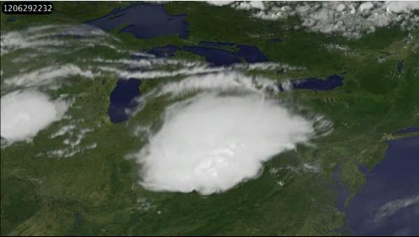NASA satellite images compiled into an animation show the derecho storm form, expand and strike Maryland.