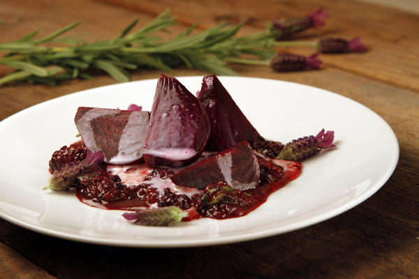 Beets with lavender and blackberries