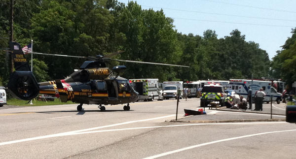 A Maryland State Police helicopter landed on U.S. 40 and multiple fire and rescue units responded to a crash Friday afternoon near the entrance to Greenbrier State Park.