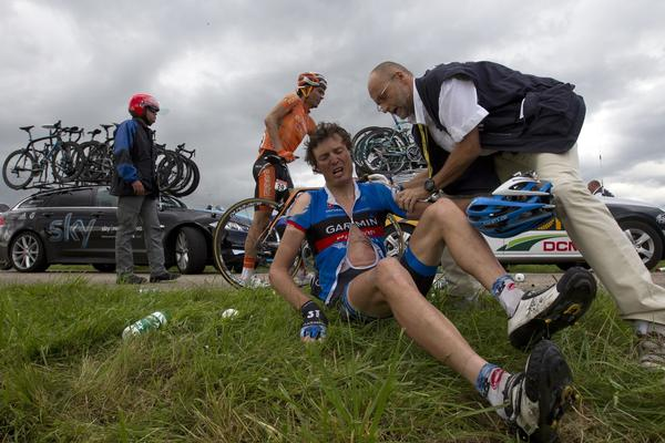 Belgium's Johan Van Summeren receives medical assistance after the crash of around 30 riders 26 km before the end of the 207,5 km and sixth stage of the 2012 Tour de France cycling race starting in Epernay and finishing in Metz, northeastern France, on July 6, 2012.