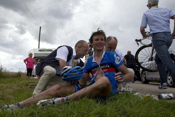 Belgium's Johan Van Summeren reacts after the crash of around 30 riders 26 km before the end of the 207,5 km and sixth stage of the 2012 Tour de France cycling race starting in Epernay and finishing in Metz, northeastern France, on July 6, 2012.
