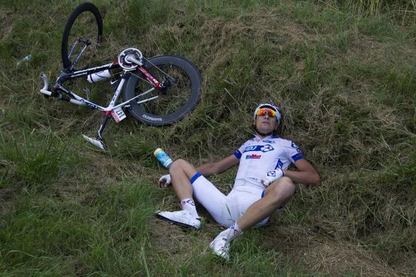 Denmark's Anders Lund is pictured after the crash of around 30 riders 26 km before the end of the 207,5 km and sixth stage of the 2012 Tour de France cycling race starting in Epernay and finishing in Metz, northeastern France, on July 6, 2012.