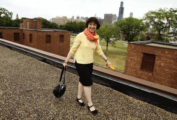 Sunny Fischer on the roof of the former Jane Addams Public Housing development (1322 W. Taylor St. in Chicago), which will become a public housing museum.