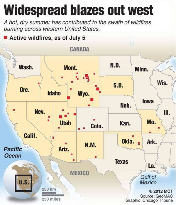 Map of the western U.S. showing locations of active wildfires.