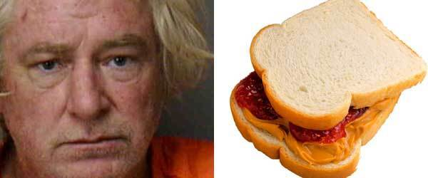 Weapon: Peanut butter sandwich<br><br> The story: On June 29, Miller stepped out of his trailer to investigate a disturbance he heard when he confronted a trio. He threatened both a pregnant woman and a woman who intervened in her defense with a four to five-foot sword. A third woman stepped in after Miller poked the sword at and Miller smeared her chest with his peanut butter sandwich, according to a Polk County Sheriff's Office report.<br><br> When deputies placed Miller in a patrol unit, he chewed on padding inside the car in lieu of his peanut butter sandwich.<br><br> Charges: Battery, aggravated assault with deadly weapon, criminal mischief