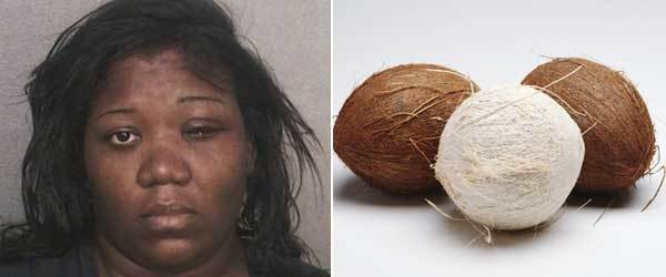 Weapon: Coconut<br><br> The story: McGee is accused of attacking a woman with a coconut during a Lauderdale Lakes road rage incident on the Fourth of July, according to a Broward Sheriff's Office report.<br> The coconut catfight got hairy about 1:20 p.m. at the intersection of West Oakland Park Boulevard and North State Road 7 where a green 2004 Nissan SUV and a red 2008 Chrysler minivan came to a stop. McGee told investigators that she got out of her minivan and approached the front passenger's window of the SUV and initiated the altercation. The loud verbal exchange escalated when McGee reached into the car and grabbed Vanessa Davis, 25, and pulled her hair and scratched her face, the Sheriff's report said.<br> A passenger in Davis' SUV told the Sheriff's Office that McGee then went back to her van and returned with a coconut in hand.<br> However, this time, McGee allegedly went to the back passenger window and hit Markenia Byrd, 29, in the head with the coconut, according to the Sheriff's report. Byrd was transported to the hospital to treat the head wound.<br><br> Charges: Two counts of burglary with assault or battery