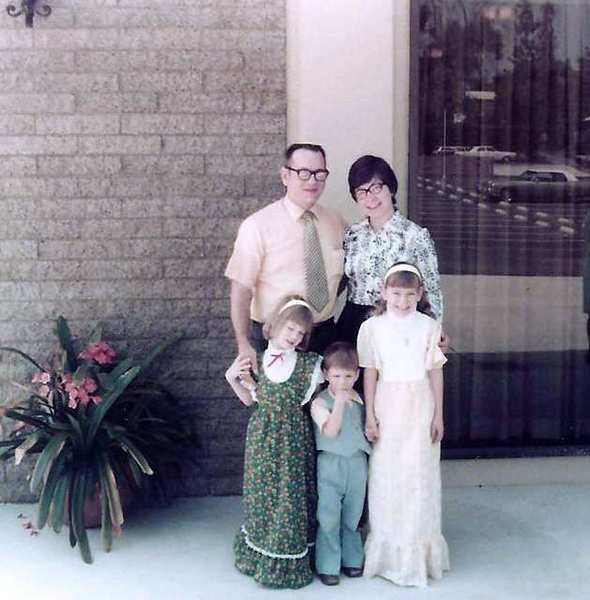 Ken and Gail Marks and their children, from left, Linda, Steven and Pamela, in front of First Congregational Church of Glendale at 2001 Canada Boulevard. The photo was taken a few months after the church's 1976 dedication.