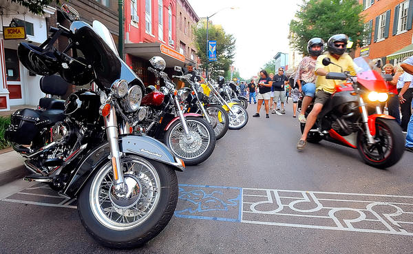 Motorcycles filled the first block of S Potomac St in downtown Hagerstown Friday night during the City Center Bike Night celebration.