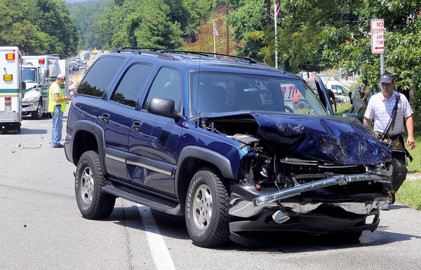 The scene of a two vehicle accident Friday afternoon on Rt. 40 at the entrance to Greenbrier State Park near Hagerstown.