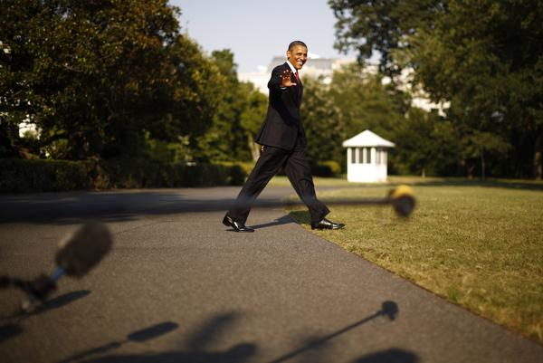 U.S. President Barack Obama walks to Marine One at the White House in Washington, July 6, 2012. Obama flew to Camp David on Friday afternoon for the weekend.