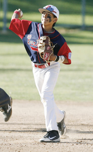 Burbank's Erik Gonzalez throws the ball to first base during a game against Glendale at Montrose Park on Friday, July 6, 2012.