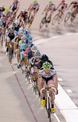 Hannes Baumgarten of Germany leads the pack in the Pro Men's US 10 Mile Championship race during the World Series of Bicycling 10 mile Championship night at the Valley Preferred Cycling Center in Trexlertown on Friday night.
